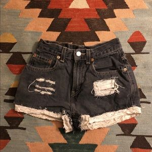 levi's cut off shorts with lace trim